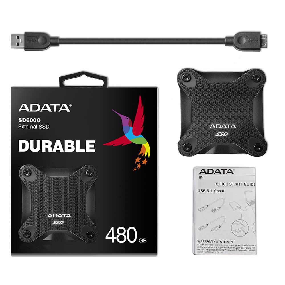 Disco Duro Estado solido 480Gb Ssd Externo Adata Sd600 Negro